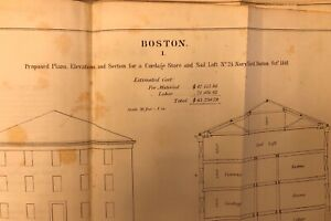 """2"" 1848 Drawings: US Navy Yard Boston, MA Cordage Store & Sail Loft - Antique"
