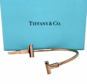 TIFFANY & Co T Wire 18K Rose Gold Bracelet 2.4 mm Wide