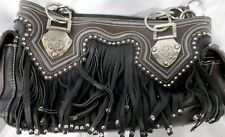Montana West Western Cowgirl Bling Fringe Brown Tote Purse
