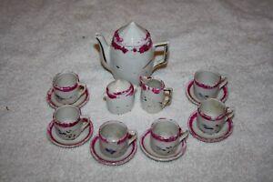 Vintage Ceramic Tea Set Dollhouse Miniatures