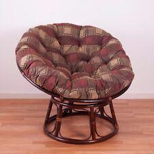"""Jacquard Chenille Cushion 42"""" Rattan Papasan Chair Home Living Seating Furniture"""