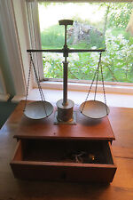 Old wood box balance beam scale, analytical, drawer, brass, weighing