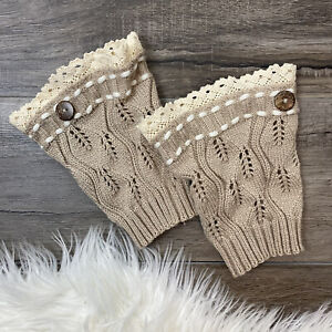 Beige Acrylic Knit Boot Cuffs Lace Button