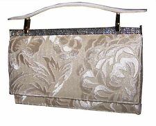 Beautiful Judith Leiber / Embroidered/ with Rhinestones and Leather/ Cream