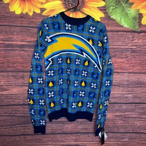 NFL TEAM APPAREL SAN DIEGO CHARGERS UGLY CHRISTMAS SWEATER SIZE SMALL S SM