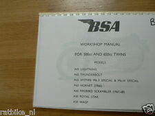 B0124 BSA WORKSHOP MANUAL 500+650 TWINS A65(LIGHTNING+THUNDERBOLT+SPITFIRE + A50