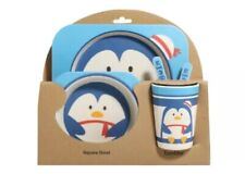 Set Of 5 PCS Baby Kids Tableware Bamboo Ware Dinner Breakfast Eco Dish Bowl Cup