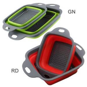 2 Pcs Kitchen Collapsible Fold Silicone Colander Fruit Vegetable Strainer Basket