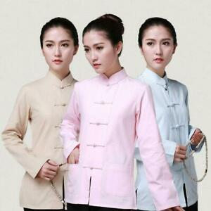 Women's Cotton Chinese Traditional Tang Suit Tai Chi Uniform Tops Buckle Shirt