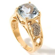 Aquamarine Solitaire with Accents Yellow Gold 14k Fine Rings