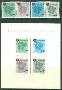 EDW1949SELL : GERMANY 1949 Scott #8NB1-4, 4a Red Cross Cplt set w/ S/s Cat
