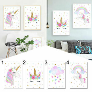Rainbow Unicorn Canvas Art Painting Pictures Kids Bedroom Hanging Wall Decor