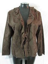 Chicos 2 Jacket L Brown Jacket Cotton Eyelet Jacket Ruffle Jacket