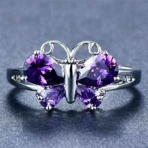 3Ct Pear Cut Amethyst Butterfly Women's Engagement Ring 14K White Gold Finish