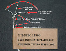 Surplus Mil-Spec 2 conductor wire 22 AWG silver teflon RCA cable audiophile 10ft