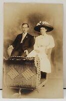 RPPC Victorian Couple Wicker Rolling Cart Atlantic City NJ Boardwalk