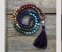 Hand Beaded long Tassel Necklace Agate Boho Turquoise Wooden Chakra Mala 7 Stone
