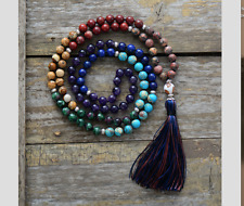 Hand Beaded long Tassel Necklace Agate Boho Turquoise Wooden Chakra Mala 7 Stone