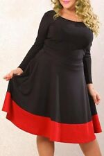 BLACK RED ORANGE FLARED DRESS 18  NEW CAREER CHURCH PARTY WEDDING