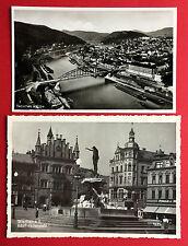 2 x Foto AK TETSCHEN um 1938 Marktplatz und Luftbild mit Brücke  ( 12596