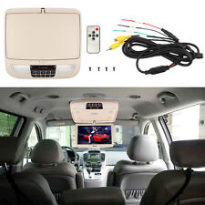 "12"" Flip Down TFT LCD Monitor Car Roof Mounted Monitors Wide Screen Beige US"