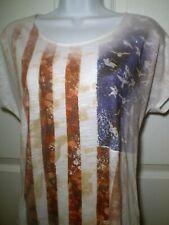 Sonoma Size L American Flag Artsy Patriotic Doves for Stars Blouse Top