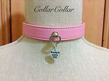 Submissive Kitten Play CollarCollar Vegan Leather Baby Pink Daddy's Little ABDL