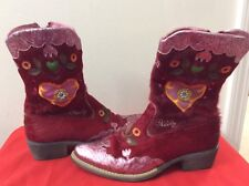 Oilily Womens Western Style Cowboy Boots  Pink Red With Cow Hair  size 37. (b61)