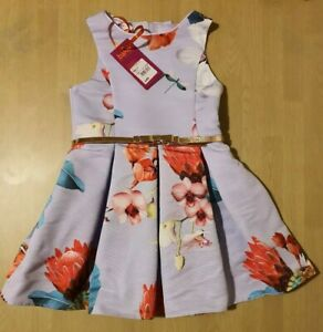 Ted Baker Girls Lilac Floral Dress Age 4 Years
