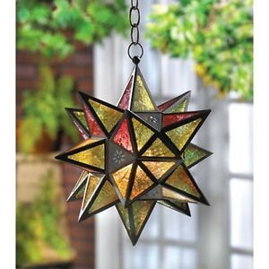 Moravian indoor Outdoor oversize STAR hanging pendant lamp Lantern Candle holder