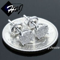 925 STERLING SILVER 6MM LAB DIAMOND ICED BLING ROUND SCREW BACK STUD EARRING*E66