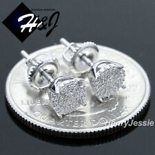 925 STERLING SILVER 6MM LAB DIAMOND BLING ROUND SCREW BACK STUD EARRING*E66