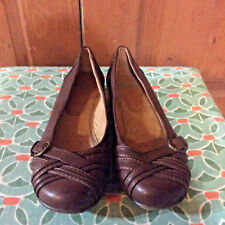 Womens Yuu Gander Flats Size 9 M Brown Leather Loafers Slip-Ons Pumps Shoes
