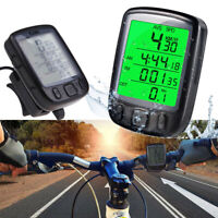 US LCD Digital Cycle Computer Bicycle Bike Backlight Speedometer Odometer