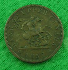 1857 one penny token bank of upper Canada PC-6D a very nice token