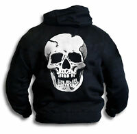 Big Skull Mens Womens Biker Goth Pirate Hooded Top Sm - 2XL Sweatshirt
