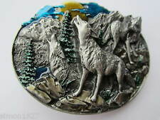 Wolf belt buckle howling wolves  and moon.