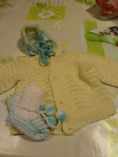 neuf 3piéces pour poupée ,poupon,celluloid ,COLIN,RAYNAL,SNF  tricotés mamie