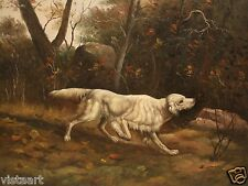 "Oil Painting on Stretched Canvas 12""x16""- White Dog in Forest"