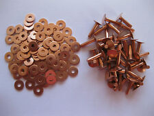 Copper saddlers rivets & washers 8 Gauge 4.1mm x 13mm1/2 leather belt bag crafts