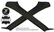 YELLOW STITCHING 2X A PILLAR REAL LEATHER COVERS FITS SUBARU FORESTER 2002-2008