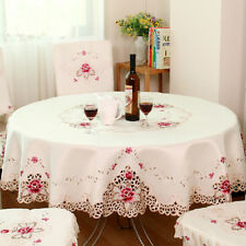 Embroidered Floral Fabric Cutwork Round Tablecloth White Lace Table Cloth Cover