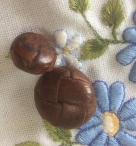2 BROWN Leather Plaited Vintage Buttons (1metal Shank2.0/1 Leather Shanked1.4cm)