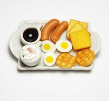 Dollhouse Miniature Food with Coffee Cups on Ceramic Tray * Mini Breakfast Drink