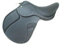 """""""New"""" GP jumping horse leather saddle black """" WHITE STITCHING"""" Medium Fit 16"""""""