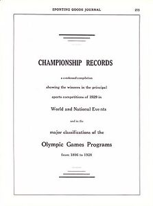 1930 Sporting Goods Journal ~ 1928 Amsterdam Olympic Games Records ~ Weissmuller