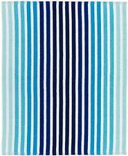 "2*63 NEW Lacoste Monaco 100% Cotton Beach Towel Blue Stripes  60"" x 70"""