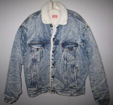 Levi's Men's sherpa Faux Shearling  Denim Jacket L Acid washed