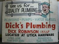 Vintage Utica Ohio Hardware Store / Dick's Pluming Folk Art Sign 36 X 48""
