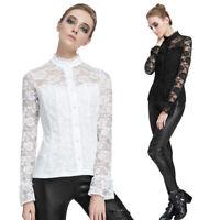 Women Slim Patchwork Vintage Gothic Blouses Shirt Long Sleeve Lace Top Blouse SD